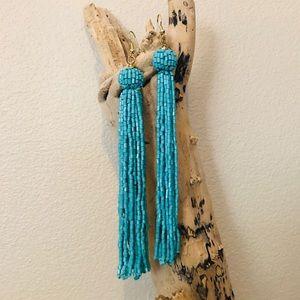 Turquoise Fringe Bead Long Dangle Earrings
